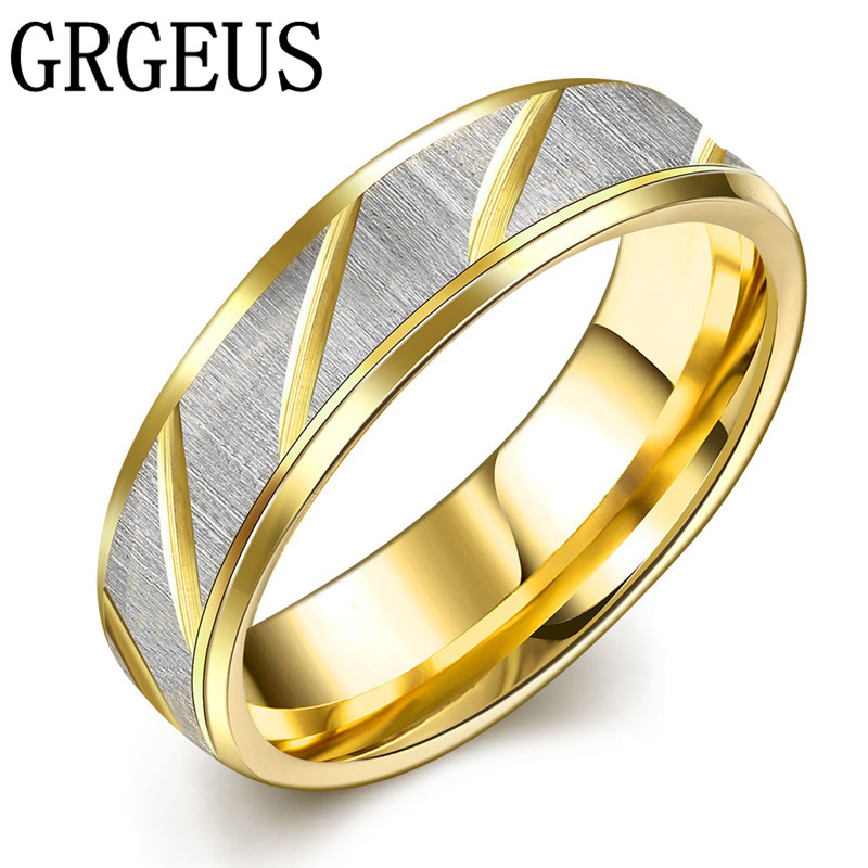 2017 fashion Accessories Simple Golden wedding ring for men and women stainless steel ring
