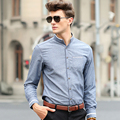 Plus Size Brand Men Casual Shirt 2016 Autumn Stand Collar Long Sleeve Solid Formal Dress Shirts Business Men Clothes M-5XL
