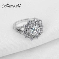 New Cluster Sona Nscd Diamond 925 Sterling Silver Ring Fashion Women Fine Jewelry Flower Design Wholesale