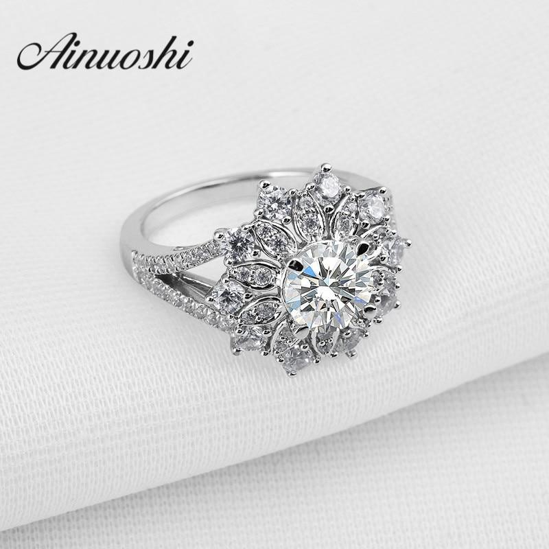 Grappe de luxe Sona 925 bague en argent Sterling 1.25 Carat femmes bijoux fins conception de fleurs en gros amant promesse doigt