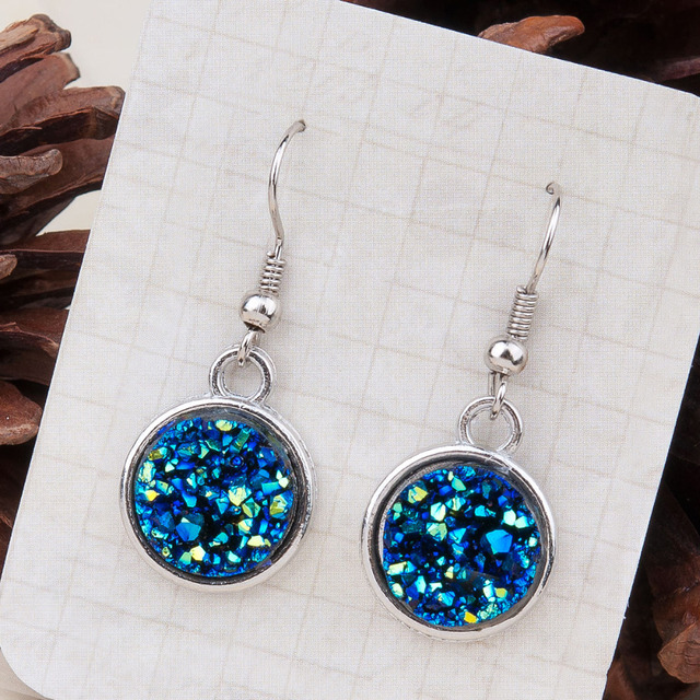 "DoreenBeads Resin Drusy Drop Earrings Silver Tone Blue AB Color Round 34mm(1 3/8"") x 15mm( 5/8""), 1 Pair"