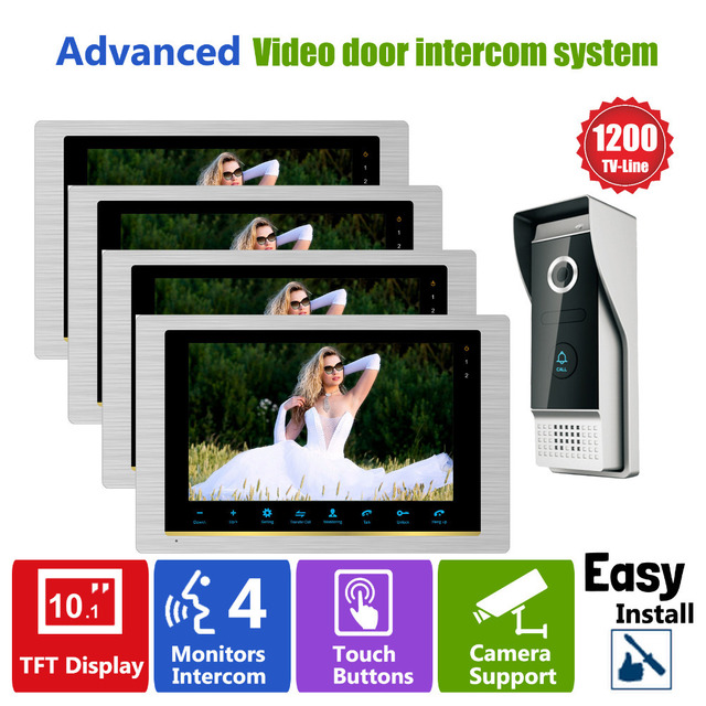 Homefong 10 Inch Video Door Phone Doorbell Video Camera Intercom System Audio/video Doorbell System for Apartment Office