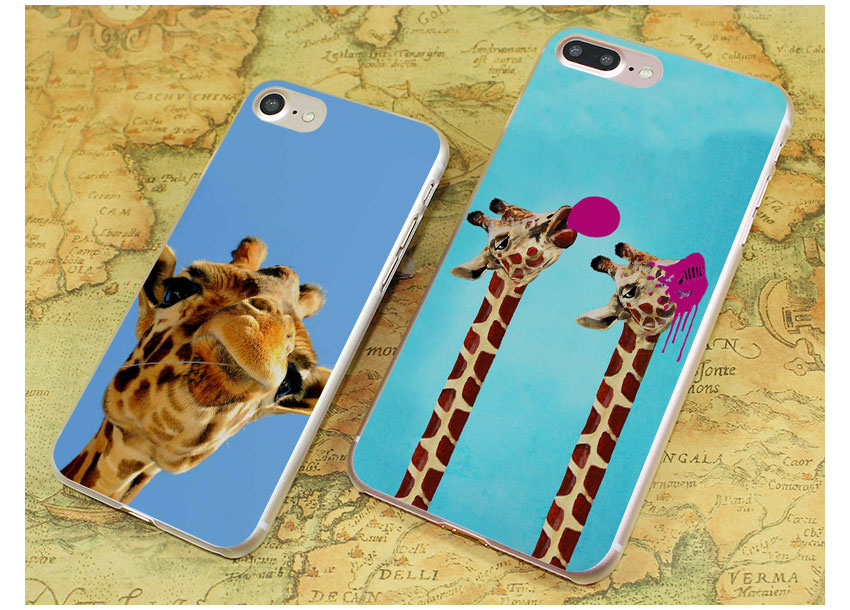Watercolor Giraffe Painting Style Clear Ultra Thin Phone Cases Cover For Apple Iphone 7 7Plus 6S 6Plus 5 5S X 8 8Plus
