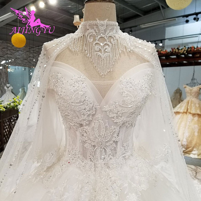 AIJINGYU Vintage Brush Suzhou Gown Vintage Suits For The Bride Simple With Sleeves Indian Gowns Long Sleeve Wedding Dresses