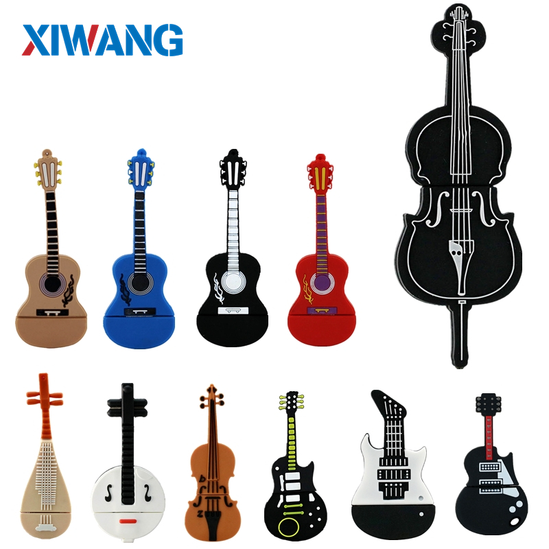 New cartoon musical instrument guitar usb flash drive 4GB 8GB 16GB 32GB 64GB pen drive pendrive violin flash memory stick gift-in USB Flash Drives from Computer & Office