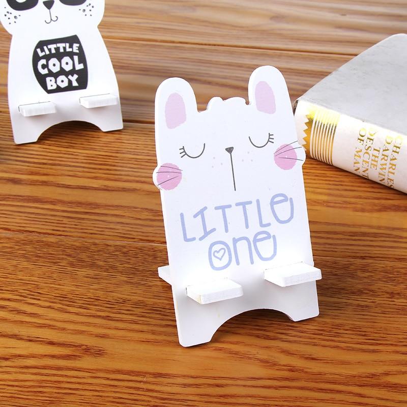 SMSNXY Mobile phone holder Lovely Cartoon Prison break rabbit Wooden Mobile phone stents
