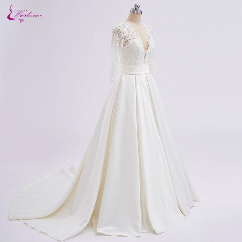 Waulizane Lustrous Satin V Neck Half Sleeves A Line Wedding Dress Floor Length Elegant Lace With