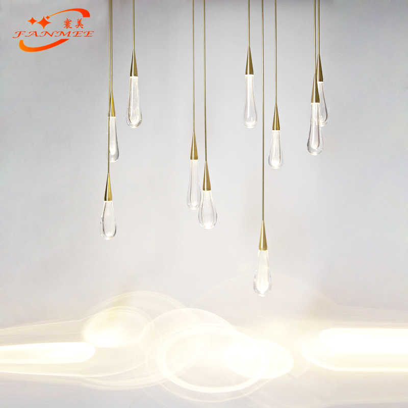 Modern LED Pendant Light Singal Kaca Air Drop Liontin Lampu Gantung Restoran Ruang Tamu Ruang Makan Kamar LED Pendant Lampu Gantung