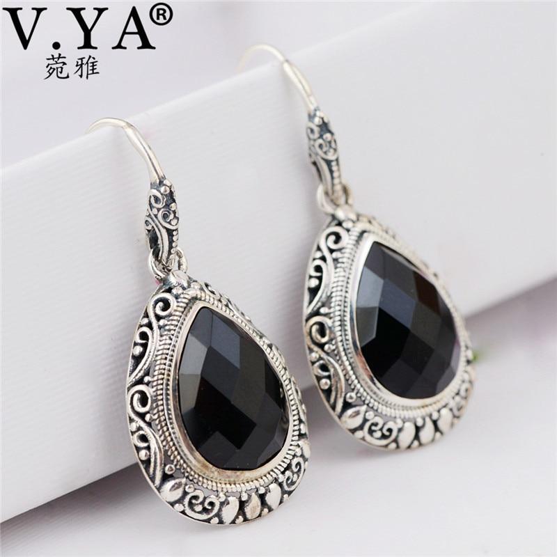 V.YA Natural Black Stone Earrings 925 Sterling Silver Drop Earrings Ear Hook Vintage Thai Silver Jewelry Christmas Gift