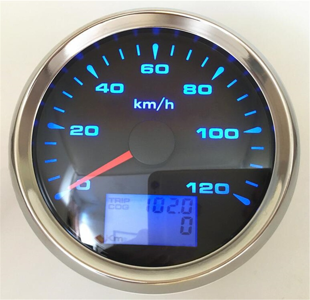 1pc 85mm GPS Speedometer Gauges 0 120km/h Speed Mileometers Odometers Trip Meters COG with 8 Kinds Backlight for Auto Truck Boat