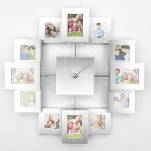 Большие фоторамки часы 2019 Новые Настенные часы с 12 фотографии современные металлические домашний декор столовые приборы Slient часы Horloge росписи