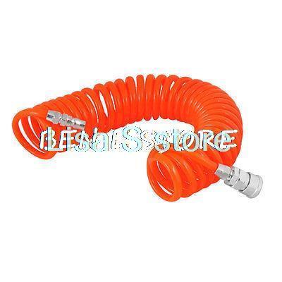 Orange Quick Connector 8mmx5mm Air Compressor Recoil Hose Tubing 6M 12 5mm dia quick fittings blue 8x5mm air compressor pu tubing hose 3 3ft