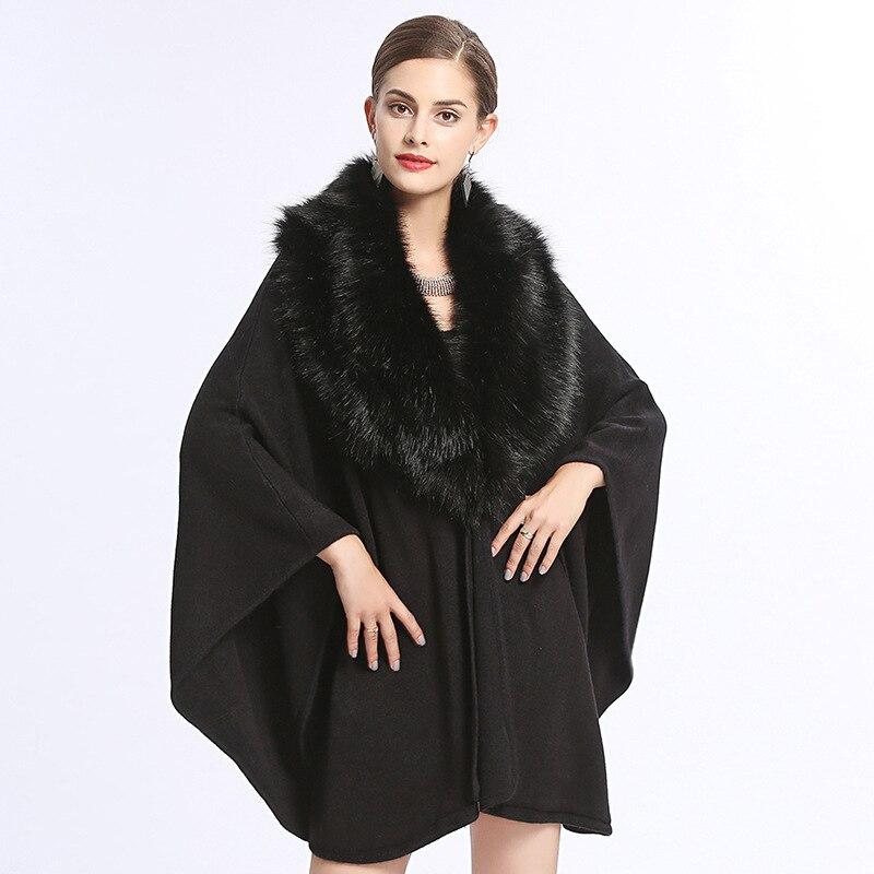 2018 D'hiver Femmes Cape Automne Feminino Manches Vintage bourgogne Casaco souris Cardigans Beige Hiver Chauve Poncho Manteau Vêtements noir gris ppwqr8xd