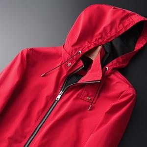 Image 2 - Minglu Primavera E in Autunno Nuova Giacca Con Cappuccio Rosso di Qualità di Hight Casual degli uomini di Moda Slim Fit Cappotto del Rivestimento Più Il Formato m 2XL 3XL 4XL
