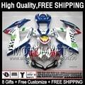 Blue white 8Gift+ For SUZUKI GSXR750 2008 2009 2010 4JK8391  K8 08-10 GSXR 600 750 GSX R600 R750 08 09 10 Fairing  Blue red whit