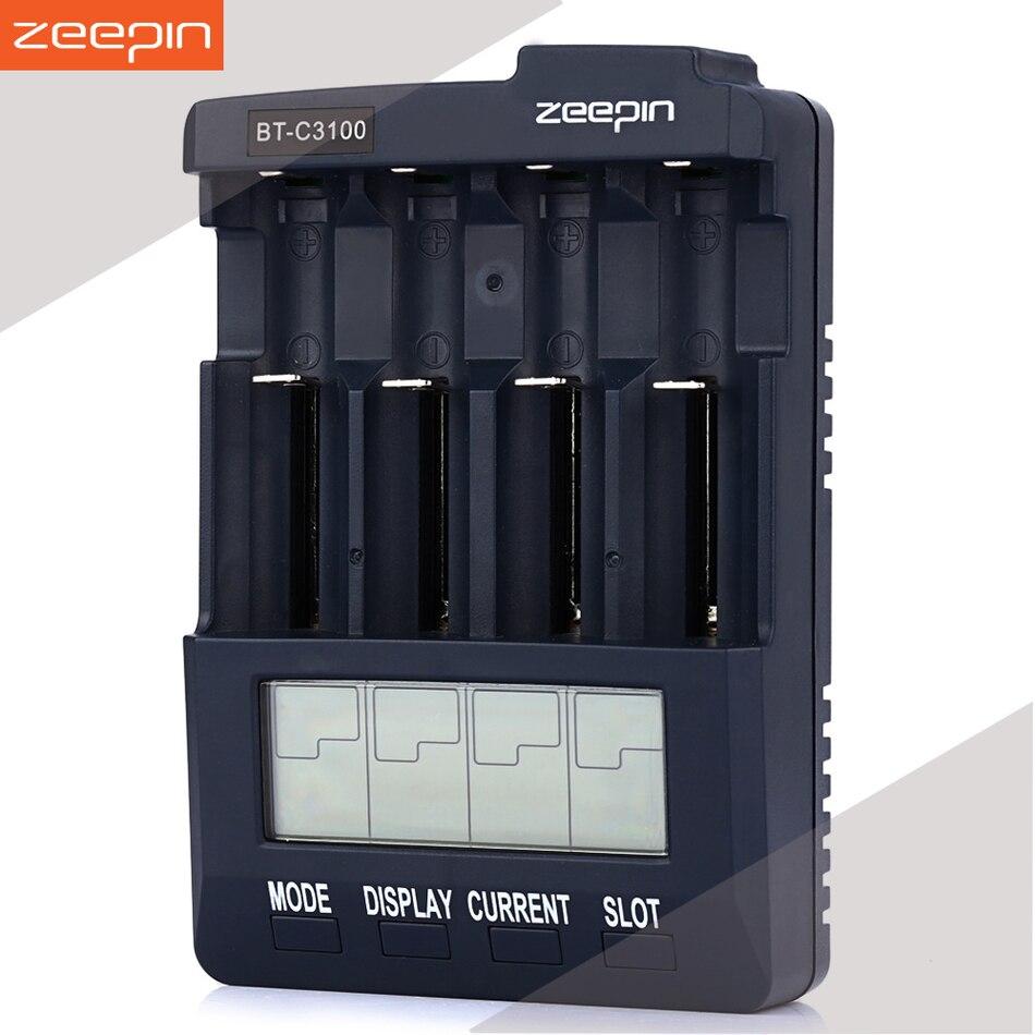 Zeepin Opus BT-C3100 V2.2 Smart 4 Porta LCD Universale Caricabatterie Li-Ion NiCd NiMh AA AAA 10440 14500 16340 17335 17500 1849