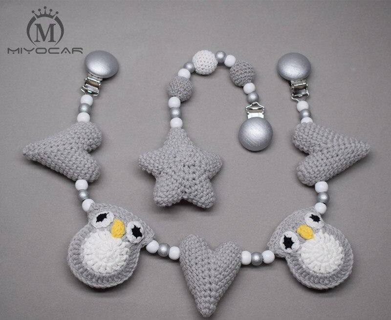 MIYOCAR clip en bois fait main Crochet gris hibou et coeur poussette jouet chaîne pour landau poussette mobile hochet en bois perle crochet