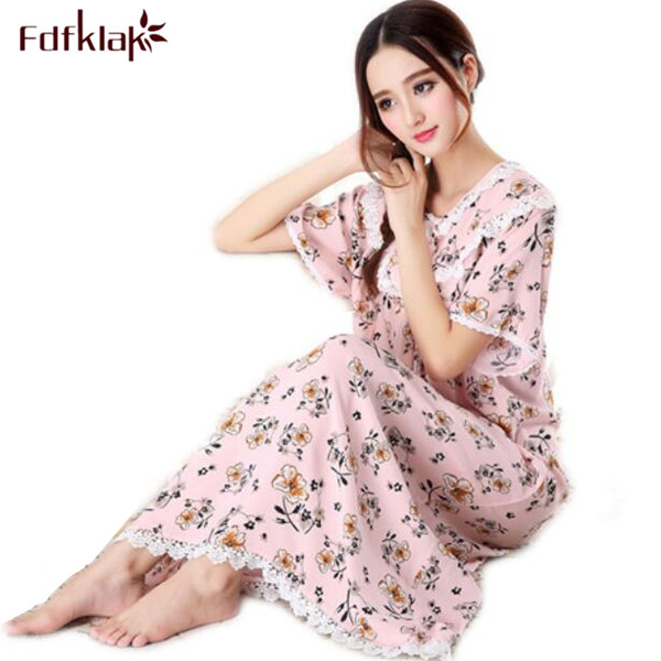 Princess Floral Nightdress Female Full Sleeve Pure Cotton   Nightgowns   Lace Flower Women   Sleepshirts   Plus Size Nightwear M-XXL Q30