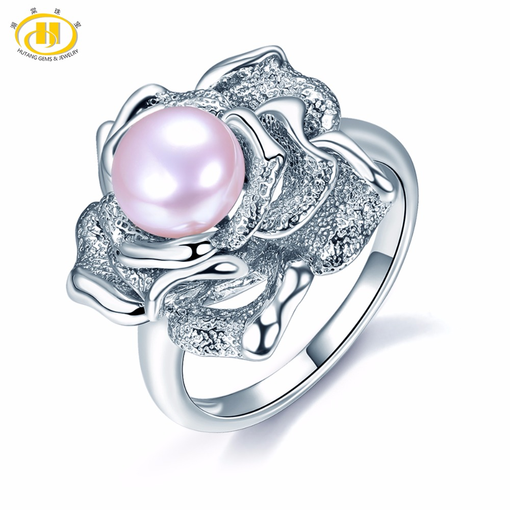 HUTANG Pearl Jewelry 100% Natural Fresh Water Pearl 925 Sterling Silver Rose Ring Fine Fashion Jewelry For Women's Gift New