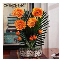 Silk Chrysanthemum European Bouquet Wedding Decoration Flowers For Home Hotel Garden Decor Bride Flower Flores CHENCHNEG