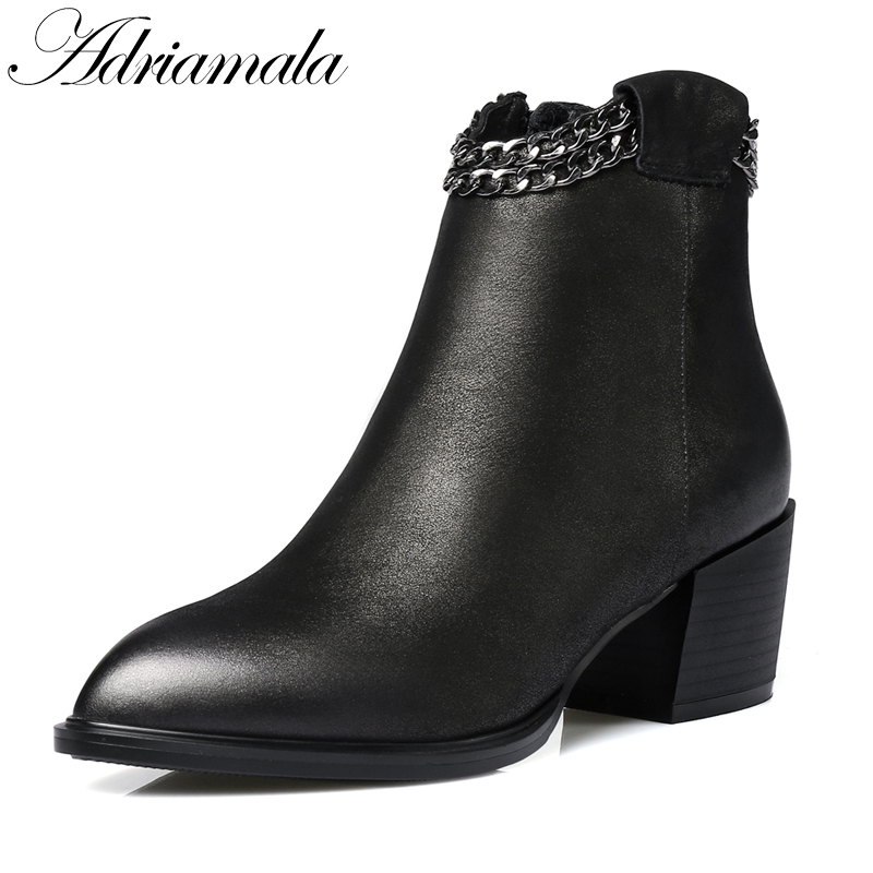2017 Genuine Leather Thick Heels Pointed Toe Ankle Boots For Women Chain Zipper Fashion High Heels Leather Short Boots Adriamala
