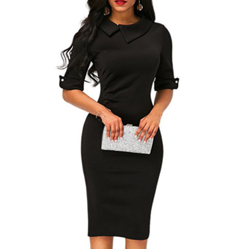 Women-Bandage-Bodycon-Half-Sleeve-Evening-Party-Work-Office-Midi-Dress (2)