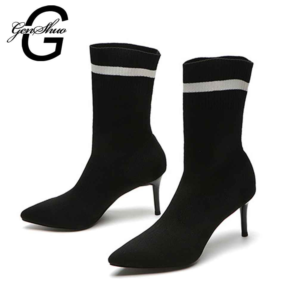GENSHUO 2018 New Sexy Women Sock Boots High Heel Ankle Boots Pointed Toe Elastic High Boots Slip On Women Pumps Stiletto Botas fashion catwalk pointed toe ankle boots for women candy color satin sock booties stiletto heel slip on botas mujer