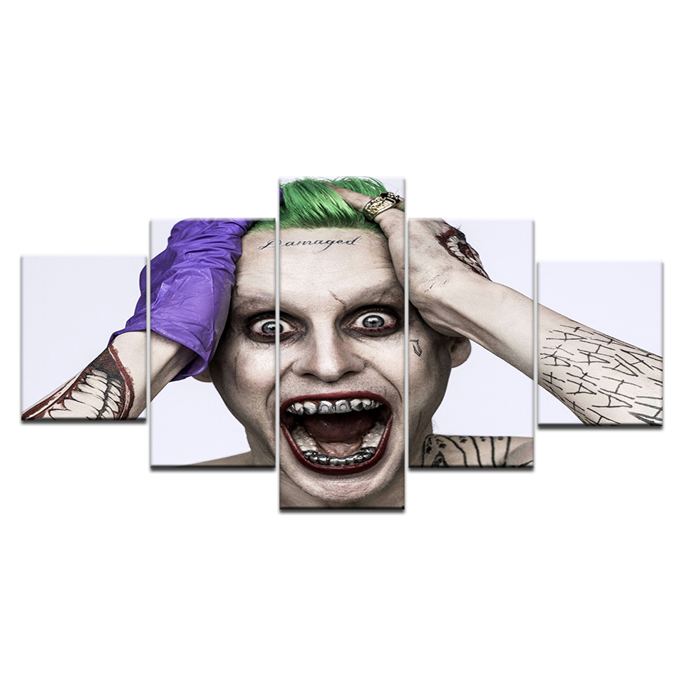 5Panel HD Printed Suicide Squad The Joker Jared Leto Cartoon Movie Print On Canvas Art Painting For home living room decoration