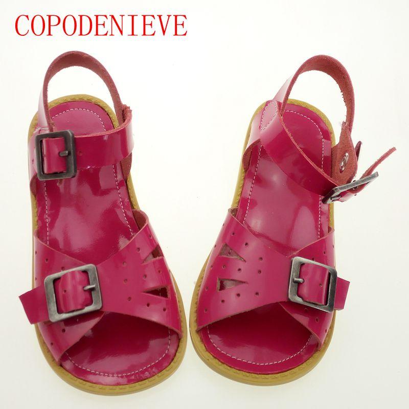 COPODENIEVE Genuine leather kids sandals children shoes cutout boys sandals girls sandals children leather shoes Genuine Shoes