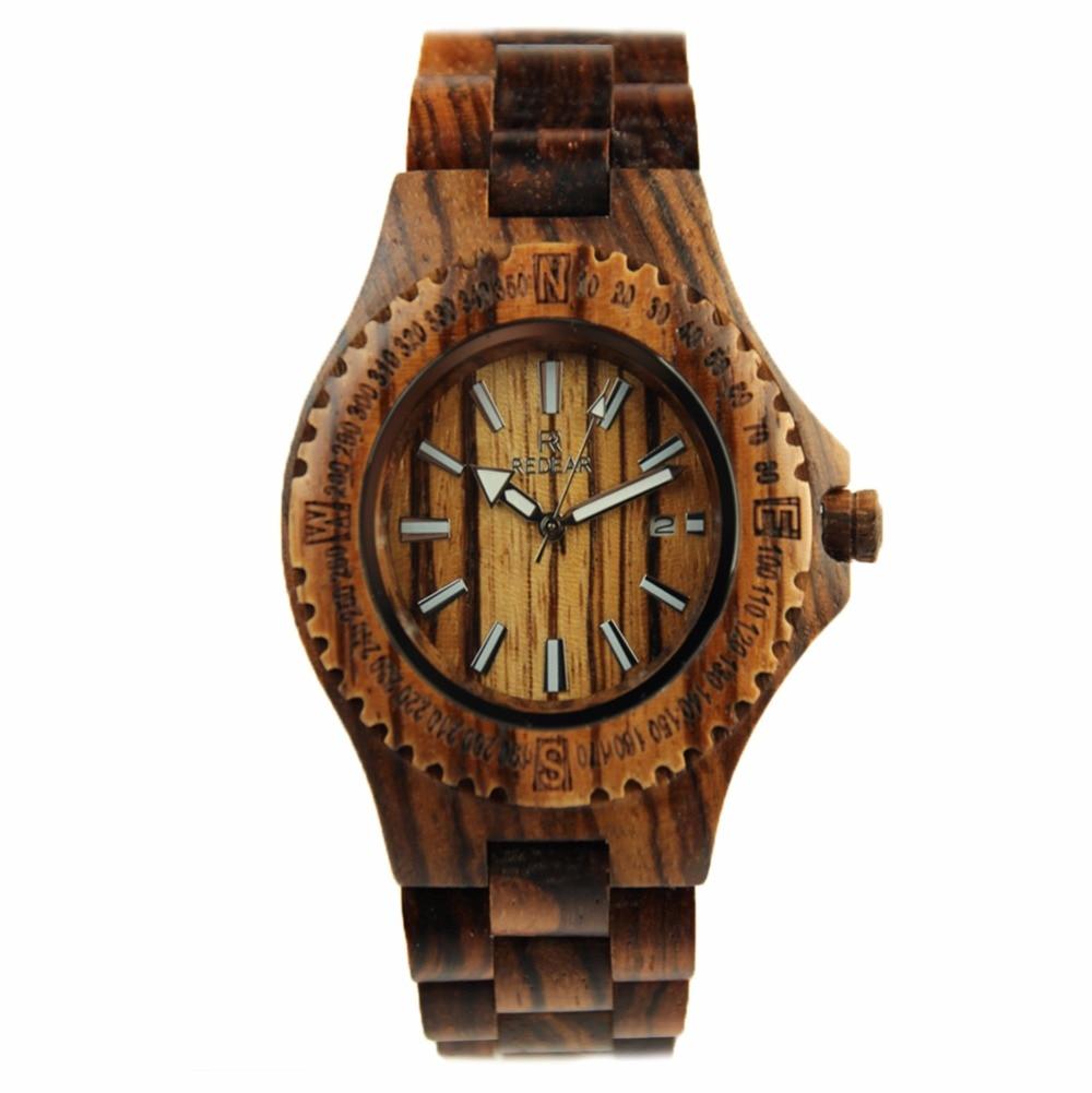 REDEAR Men's Zebra Wooden Watches With Calendar Casual Wood Wristwatches Handmade Wooden Watch bobo bird brand new sun glasses men square wood oversized zebra wood sunglasses women with wooden box oculos 2017