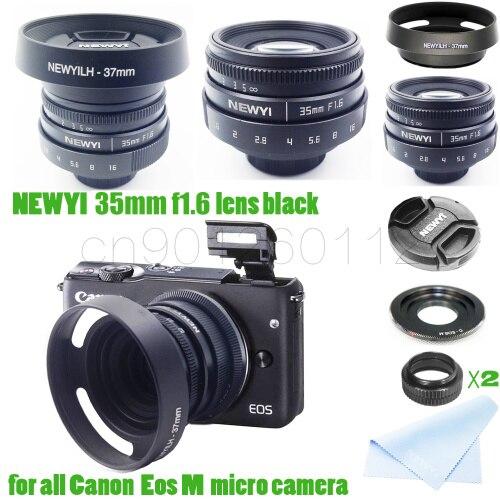 Kit 7 en 1 35mm f/1.6 CCTV mini objectif pour Canon EOSM/M2/M3/M5/M6/M10 adaptateur pour caméra et capot