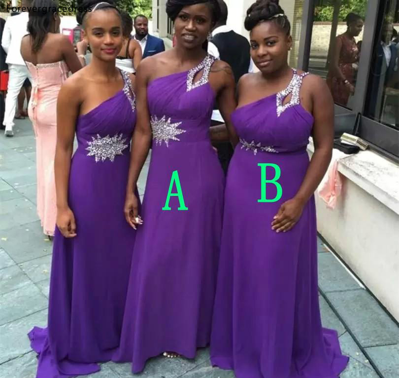 South African Black Girls   Bridesmaid     Dresses   Purple Summer Country Garden Wedding Party Guest Maid of Honor Gowns Plus Size