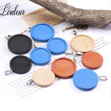 Louleur 8Pcs Blue Beige Orange Black Fit 25/30mm Round Wood Cabochon Base Blank Wooden Pendant Trays DIY Jewelry Making Necklace(China)