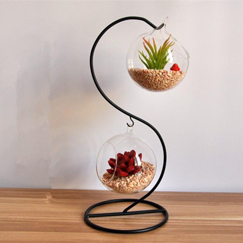 Macetas macetas jarrón de cristal de doble capa bola de cristal - Decoración del hogar