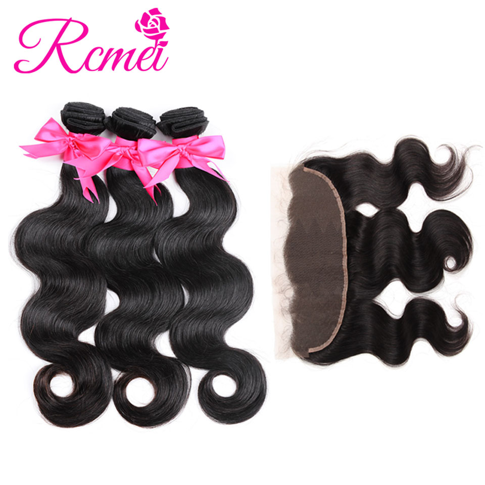 Rcmei Brazilian Hair Body Wave Lace Frontal With Bundle 3 Bundles With Frontal 100% Human Hair Lace Front Extension