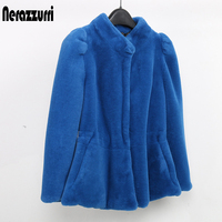 Nerazzurri Faux Fur Coat Winter Women Fishtail Hem Short Fluffy Furry Puff Sleeve Fake Fur Jacket Elegant Slim Rabbit Fur Top