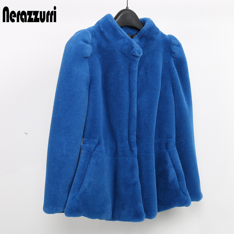 Nerazzurri Faux Fur Coat Winter Women Fishtail Hem Short Fluffy Furry Puff Sleeve Fake Fur Jacket Elegant Slim Rabbit Fur Top