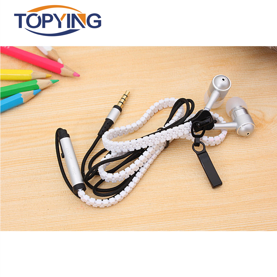 TOPYING  Wired Earphone For Phone  Wired Earphone Sport Zipper Phone Stereo Mic Earphones For Phones Cloth Line With Microphone