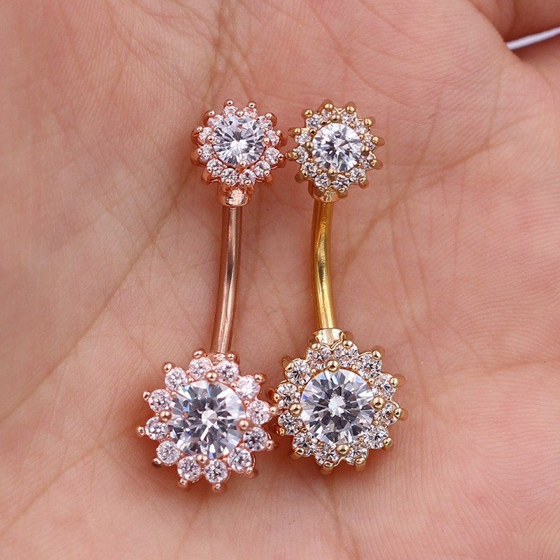AtoZ Piercing Rose Gold Plated Clear CZ Stone Fancy Flower Design Dangling 925 Sterling Silver Navel Ring