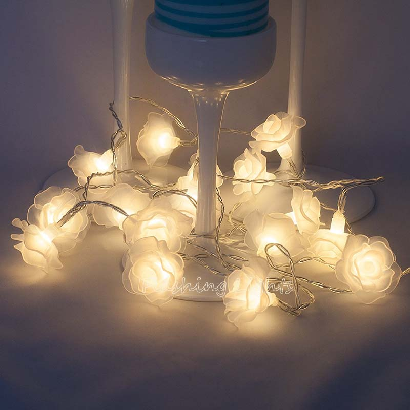 10M 50LED Romantisk Rose Flowers LED String Jullampor utomhus Fairy - Festlig belysning - Foto 1