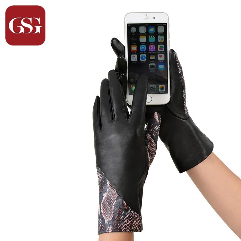 Modne žene kožne rukavice osjetljive na dodir zakrpljene zmijske - Pribor za odjeću - Foto 6