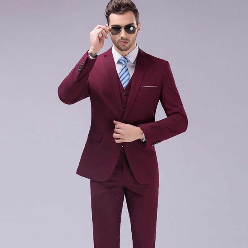 Trajes de los hombres de tres piezas blazer traje vestido delgado - Ropa de hombre
