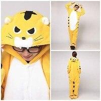 Funny Kiguruma Pajamas Tiger Onesie Animal Sleepwear Halloween Yellow Patchwork Unisex Adult Women Christmas Costume