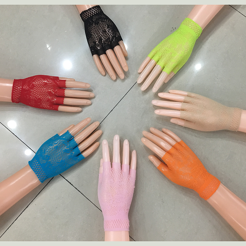 2016 7 Colors New Design Fashion Short Mesh Punk Sexy Night Club Fingerless Gloves For Women Drop Shipping Retails 610