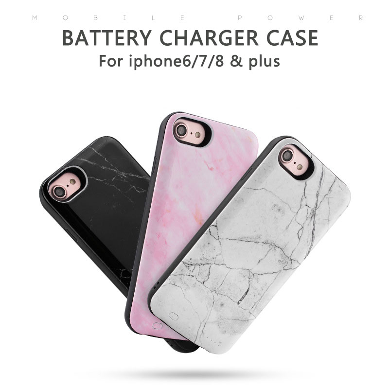detailed pictures e8cb5 6b739 US $21.58 13% OFF|For iPhone 6 7 8 3000mAh marble battery case 6000mAh  Portable External Battery Power Bank Charger for iPhone 6 7 8 plus cover-in  ...