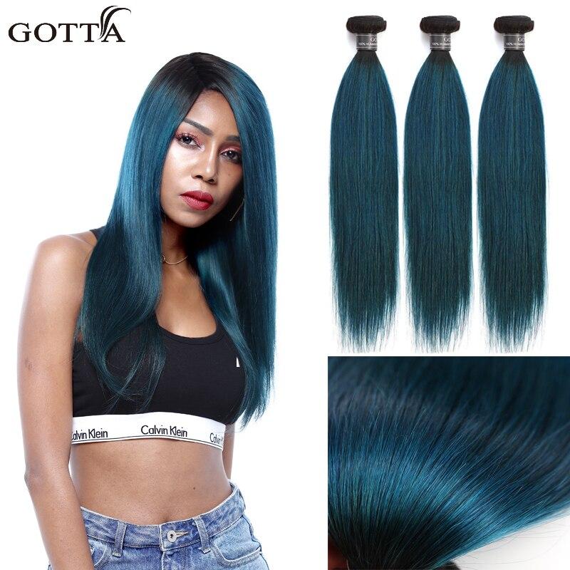 Brazilian T 1B Green Straight Wave Ombre Hair Bundles 100% Virgin Human Hair Extensions Colred Hair Extensions