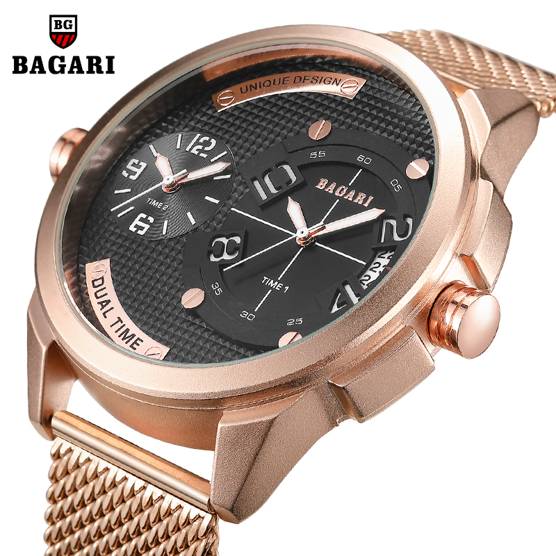 Reloj Hombre Big Dial Steel Mesh Sport Watch Men Clock Two Times Date Quartz Wrist Watch Mens Watches Top Brand Luxury Man Watch
