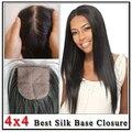 Cambojanos Fechamentos De Base de Seda 4*4 de Melhor Qualidade Barato Parte Do Meio/Parte Livre/Três Parte Cambojano Virgem cabelo Base De Seda Fechamento Superior