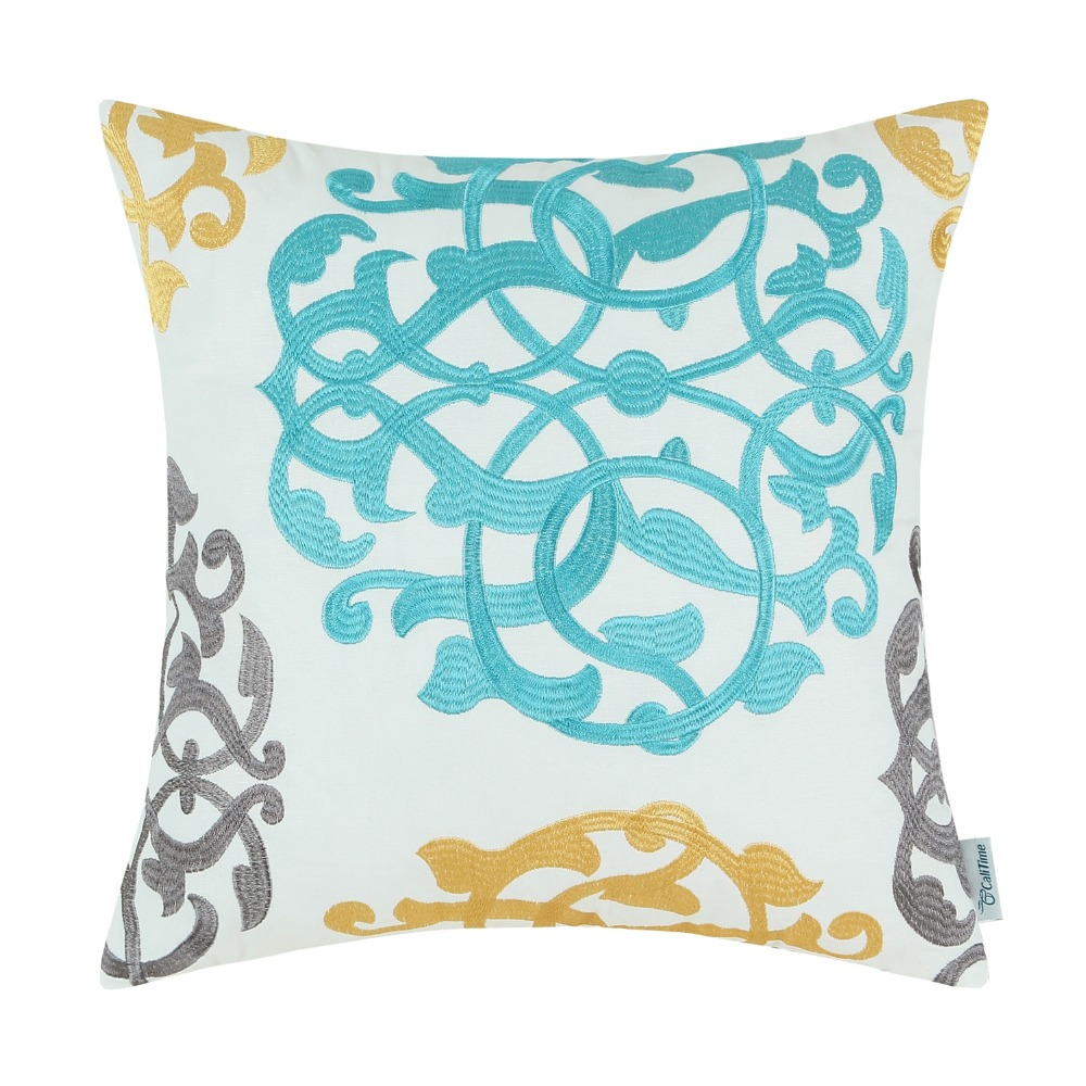 """CaliTime Cushion Covers Pillow Covers Floral Figure Geometric Home Decor 18X18/"""""""