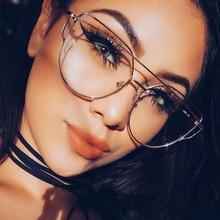 Gold Metal Frame Eyeglasses For Women Female Vintage Glasses Clear Lens Optical Frames oculos de grau Unisex NO Degrees